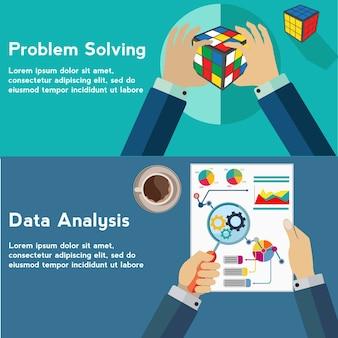 Решение проблем и анализ данных, концепция вектора цветового куба