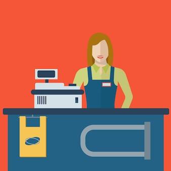 店舗でスーパーマーケットストアのレジ係の女性または販売員