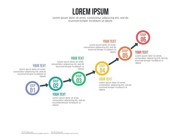 Шаблон инфографического элемента и шаблон презентации с шестью точками