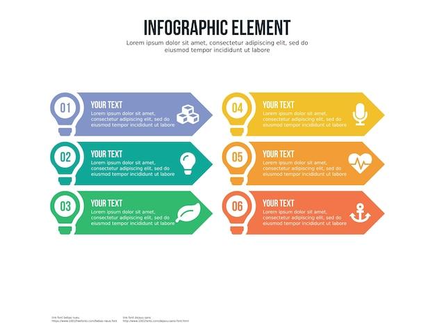 Шестифазный инфографический элемент и шаблон представления