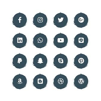 ブラシ効果を持つソーシャルメディアアイコン