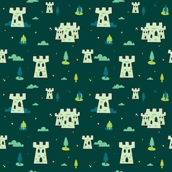 かわいい城は背景のシームレスなパターンを飾る
