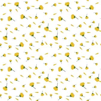 黄色のチューリップを飾る背景のシームレスパターン
