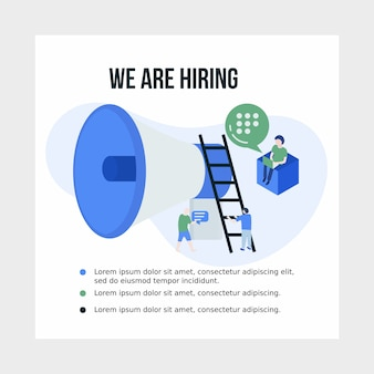 ソーシャルメディアの仕事と雇用のイラストポスター