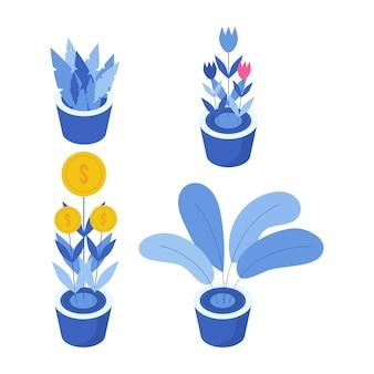 植物イラストオブジェクトのセットです。プレゼンテーションやポスターのための植物の要素。植物の設計図