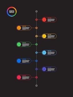 黒の背景に丸い要素を持つ垂直タイムラインインフォグラフィック。マーケティングラインアイコンによる現代のビジネスプロセスの可視化。