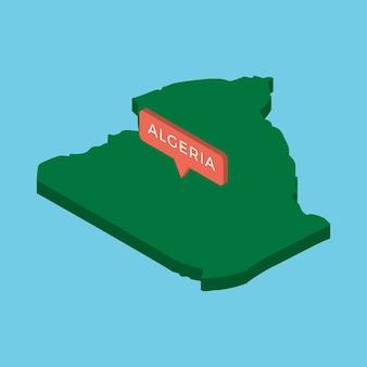 青色の背景にポインターを持つアルジェリア国の緑の等尺性地図。現実的なコンセプトマップ