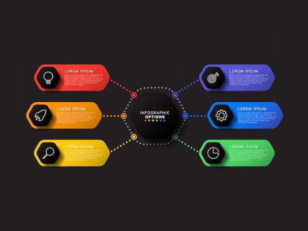 黒の背景に六つの六角形の要素を持つインフォグラフィックテンプレート。細い線のマーケティングアイコンによる現代のビジネスプロセスの可視化。