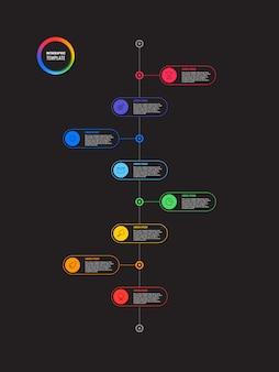 黒の背景に丸い要素を持つ垂直タイムラインインフォグラフィック。マーケティングラインによる最新のビジネスプロセスの視覚化