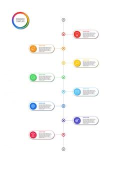 白い背景の上の丸い要素を持つ垂直タイムラインインフォグラフィック。マーケティングラインアイコンによる現代のビジネスプロセスの可視化