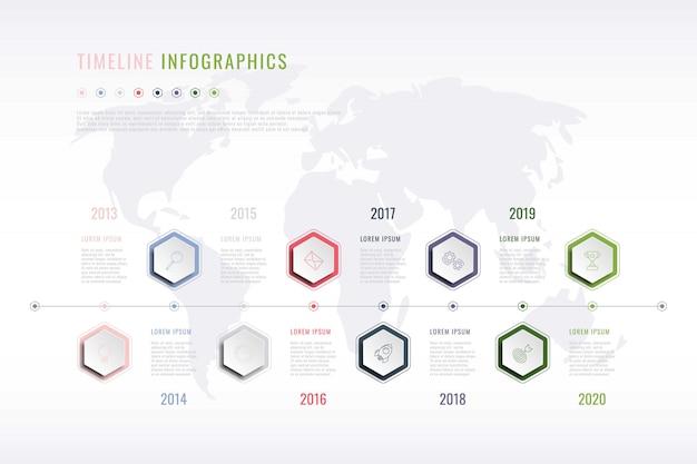 六角形の要素、年表示、世界地図と企業の歴史のインフォグラフィック