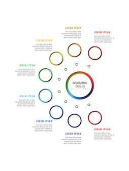 Восемь шагов вертикальный дизайн макета инфографики шаблон с круглыми реалистичными элементами