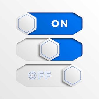 青い六角形のスイッチインターフェイスボタンを備えたリアルなオン/オフスライダー