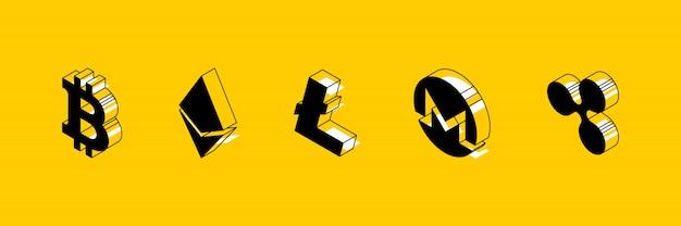 Изометрические символы разных криптовалют на желтом