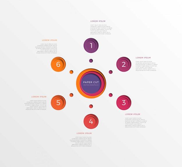 Простой шаблон инфографики шесть шагов с круглыми элементами бумаги вырезать.