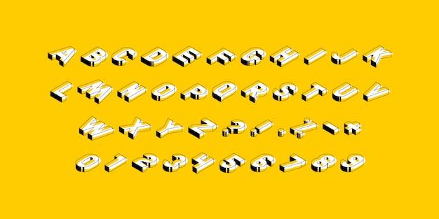 等尺性の大文字、数字、黄色の標識