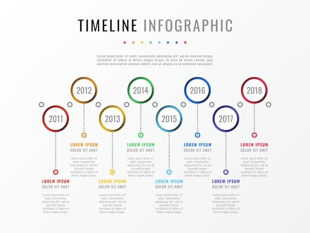 Горизонтальная временная шкала с восемью круглыми элементами, указанием года и текстовыми полями