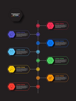 Шаблон инфографики шаги с реалистичными гексагональной элементами