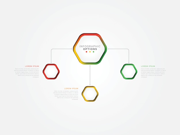 現実的な六角形の要素を持つ手順インフォグラフィックテンプレート