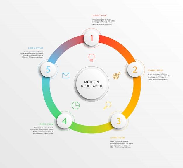 Современная бизнес инфографика с реалистичными круглыми элементами