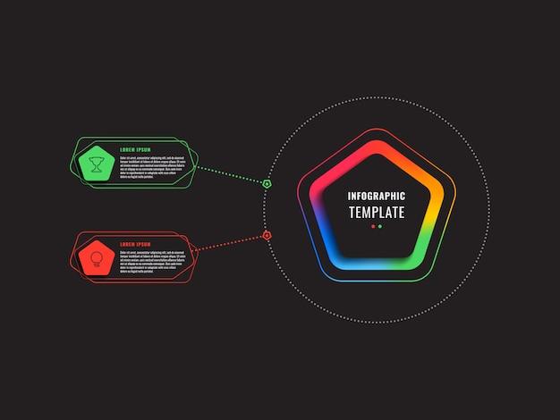 Инфографический шаблон двух шагов с пятиугольниками и многоугольными элементами
