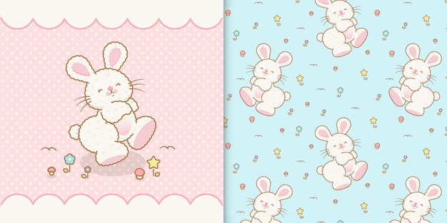 シームレスな透明なパターンを持つかわいいかわいいウサギ