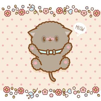 花とドットパターンのかわいい子猫