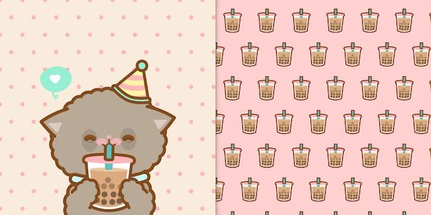Милый кот пьет смузи с бесшовный фон