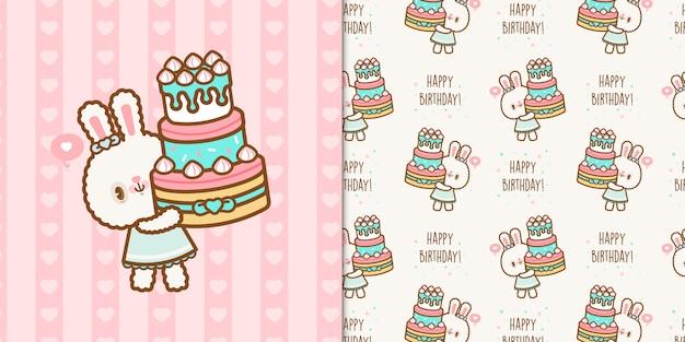 Милый каваи день рождения кролика с бесшовный фон
