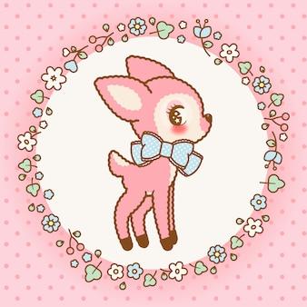 Милый розовый каваий олень с рамкой из цветов