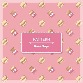 かわいいピンクのハンバーガーとフライドポテトのパターン