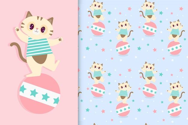 シームレスな透明なパターンを持つ面白い漫画猫。ベクトルプレミアム