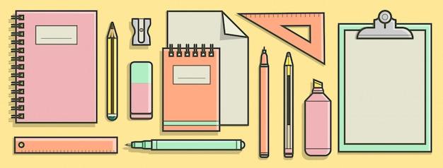 Коллекция школьных принадлежностей в плоской концепции дизайна.