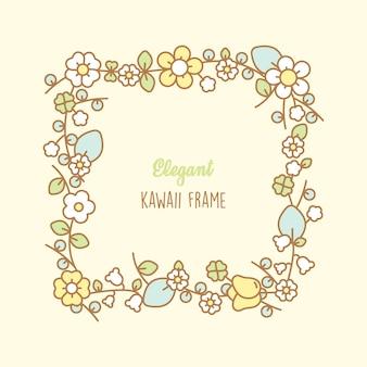 Рамка с цветами каваи