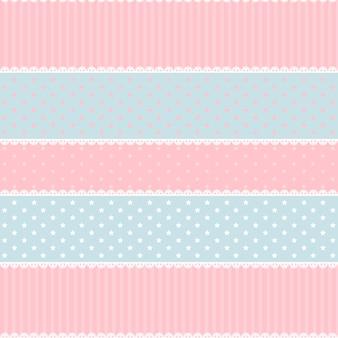 Симпатичные каваи розовые и голубые бесшовные модели
