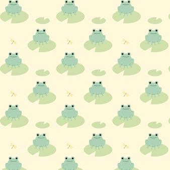 緑のカエルのかわいいシームレスパターン。