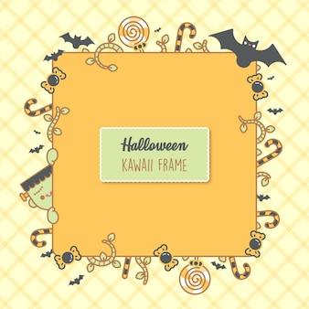 ハロウィーンの背景。あなたのテキストのための場所。コウモリ、キャンディー、枝、かわいいフランケシュタインとベクトルフレーム。トリックオアトリートのコンセプト。招待状やパーティーの創造的なデザイン。 -ベクトル