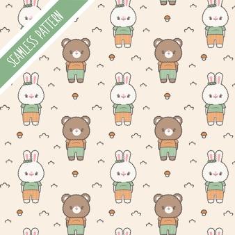 Симпатичные каваи маленький медведь и кролик бесшовные модели
