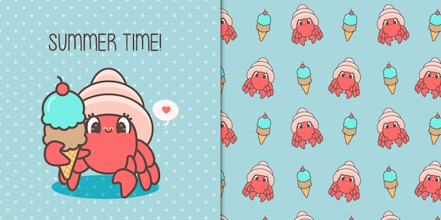 Милый краб ест мороженое с бесшовный фон