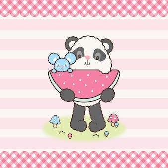 Симпатичные каваи панда медведь и мышь едят арбуз