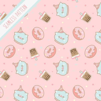 Симпатичные каваи день рождения котенка бесшовные модели