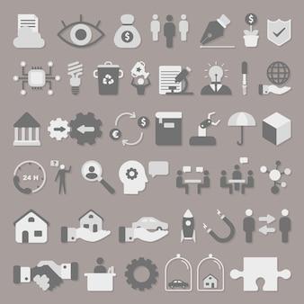 Бизнес иконы векторный набор