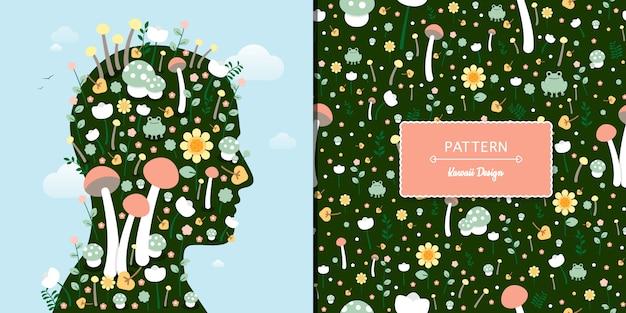 かわいい花とキノコのパターン