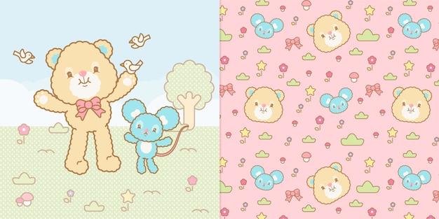 Милая иллюстрация медведя и мыши каваи и безшовная картина