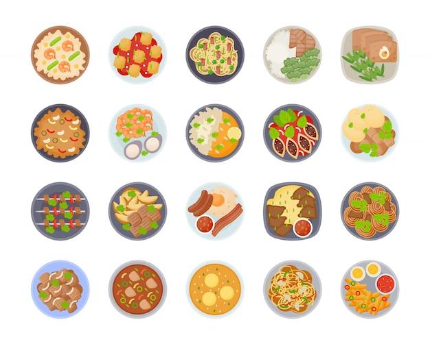 Комплект значка различных видов крупного плана таблицы еды обеда на плитах, взгляд сверху на классических блюдах обеда разных странах мира. блюда из национальной кухни на столе. вид сверху.