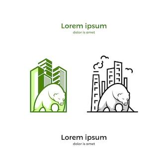 創造的なオリジナルの建物のベクトルのロゴ