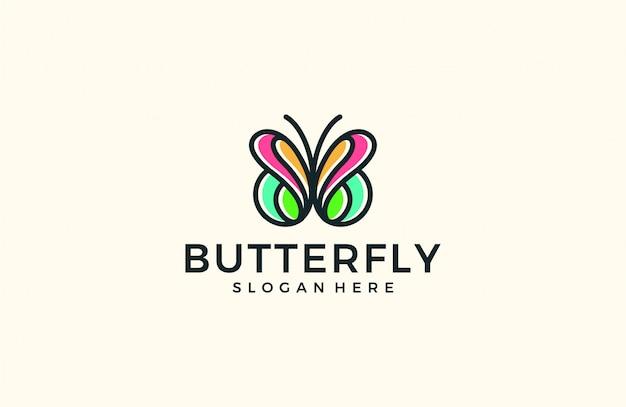 シンプルなバタフライラインロゴ