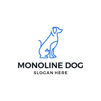 シンプルなベクトルのロゴ犬ライン