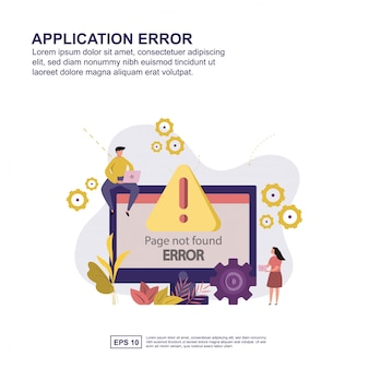 アプリケーションエラーの概念ベクトルイラストフラットデザイン。