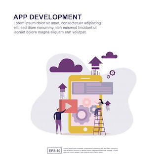 Разработка концепции приложения плоский дизайн для презентации.